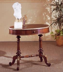 Art. 208, Klassische kleinen Tisch, in Holz geschnitzt, mit runder Platte