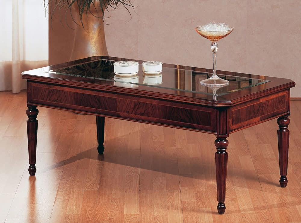 Art. 229, Traditioneller Couchtisch, Luxus, mit Glasplatte, für die Villa