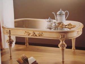 Art. 2803, Oval Tisch für Klassiker Wohnzimmer, Glasplatte