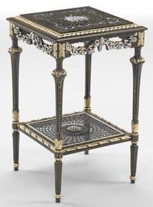 Art. L-1090 K, Quadratischen Tisch mit Regal, Blattgold Verzierungen, ideal für Umgebungen, in klassischem Stil