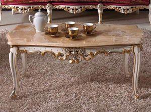 Baroque Kaffetisch, Klassischer geschnitzter Couchtisch mit Marmorplatte