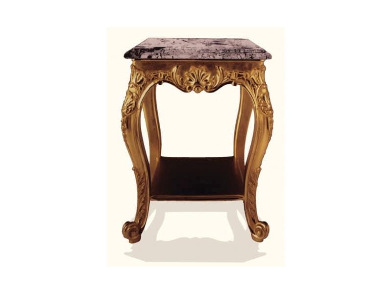Coffe Table art. 306, Couchtisch aus Holz mit Platte aus schwarzem Marmor