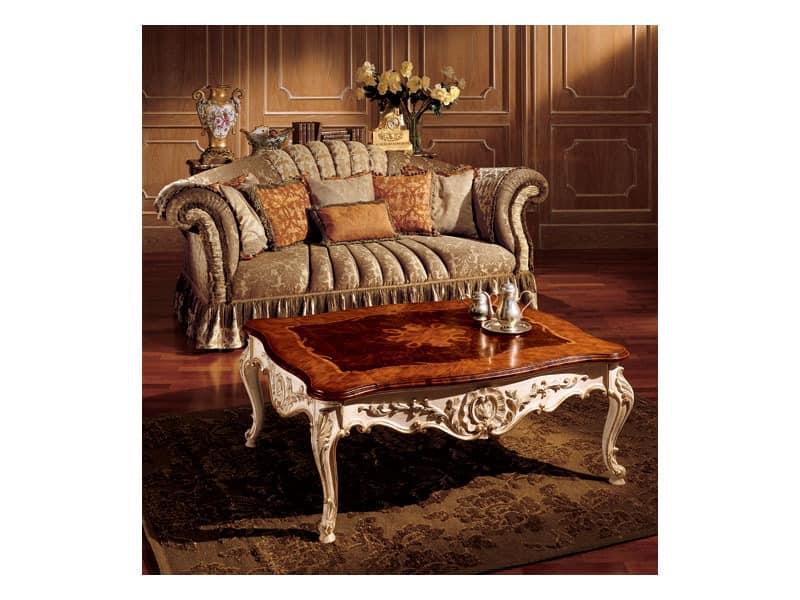 Emanuela coffee table 800, Edelcouchtischmit handgefertigten Dekorationen