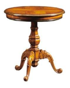 Filiberto FA.0115, Runden Couchtisch in handgemachte Holz, Barockstil