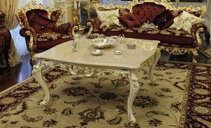 Firenze, Couchtisch für Wohnzimmer mit Marmorplatte