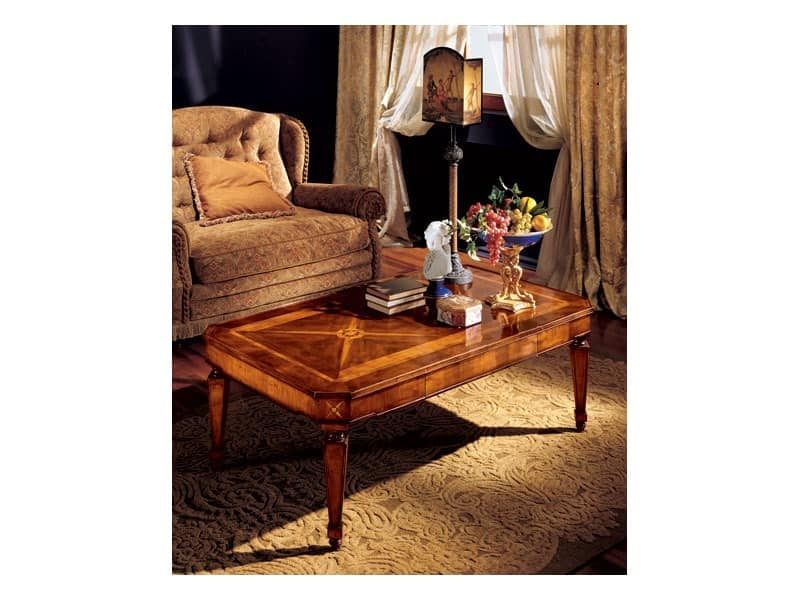Katerina coffee table 853, Couchtisch mit handgefertigten Inlays