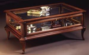 Oxford Art.509 Glasschrank Tisch, Klassische Couchtisch für Zentrum Halle mit Vitrine, in Nussbaum