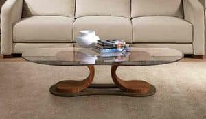 TL57 Mistral, Tisch für Mittelhalle, in Nussbaum, mit Glasplatte