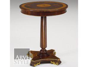 Vienna Beistelltisch, Runder kleiner Tisch mit eingelegter Spitze