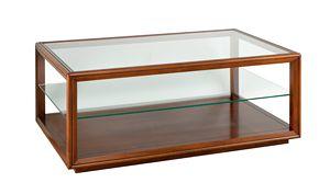 Villa Cinquanta kleiner Tisch 3572, Klassischer Couchtisch mit Glasplatte