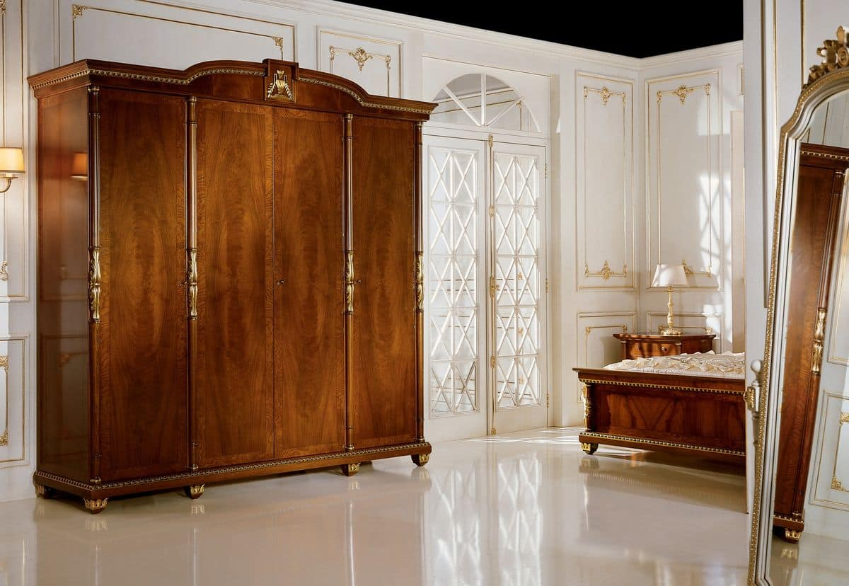 4 Türen Schrank, Nussbaum furniert und weiße Asche Knoten, für die ...