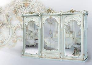 508, Klassischer Kleiderschrank weiß lackiert, mit Spiegel