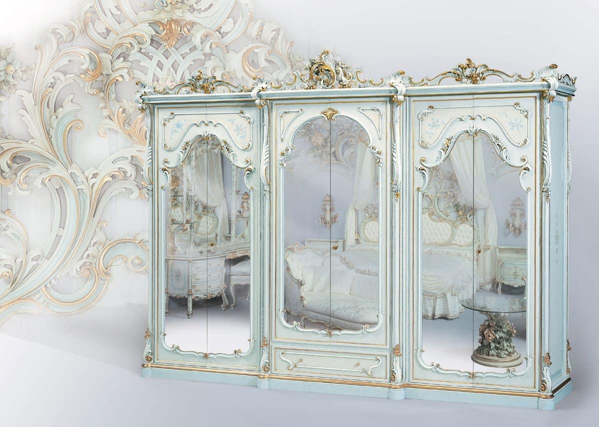 klassischer kleiderschrank wei lackiert mit spiegel idfdesign. Black Bedroom Furniture Sets. Home Design Ideas