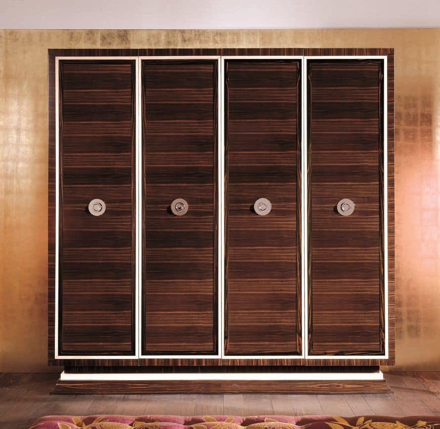 kleiderschrank mit 4 t ren ebenholz und ahorn furniert ideal f r schlafzimmer im klassischen. Black Bedroom Furniture Sets. Home Design Ideas