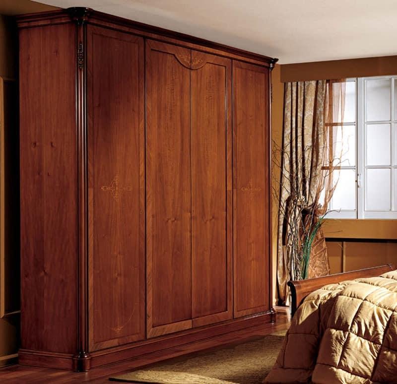 kleiderschrank mit 4 t ren nussbaum furniert klassischen stil idfdesign. Black Bedroom Furniture Sets. Home Design Ideas