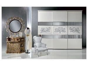 AR14 Novecento lackiert, Klassischer Kleiderschrank weiß mit Blattsilber lackiert Schmuck