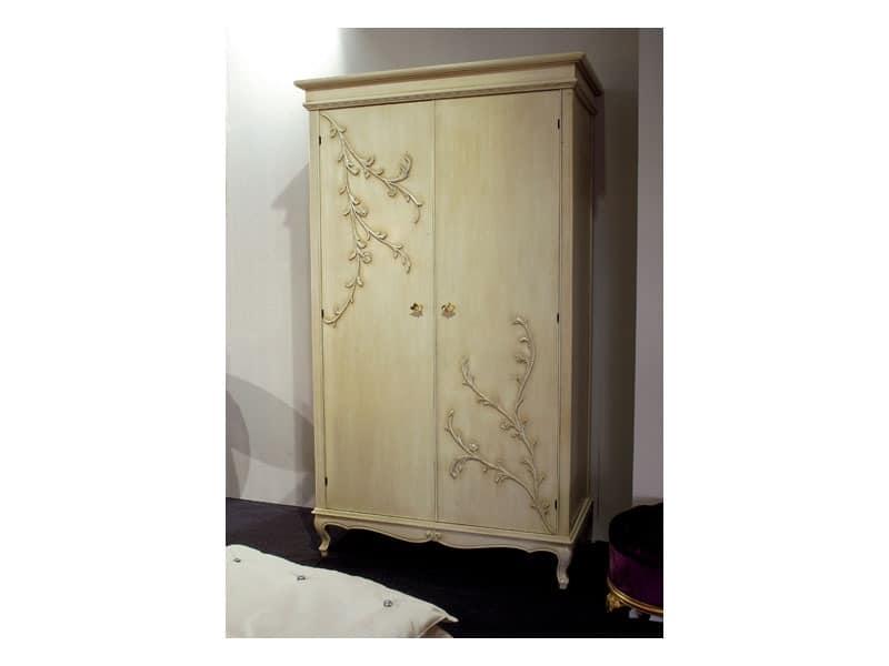 Art. 1602 Jasmine, Klassischer Kleiderschrank mit 2 Flügeltüren, Butter Veredelung
