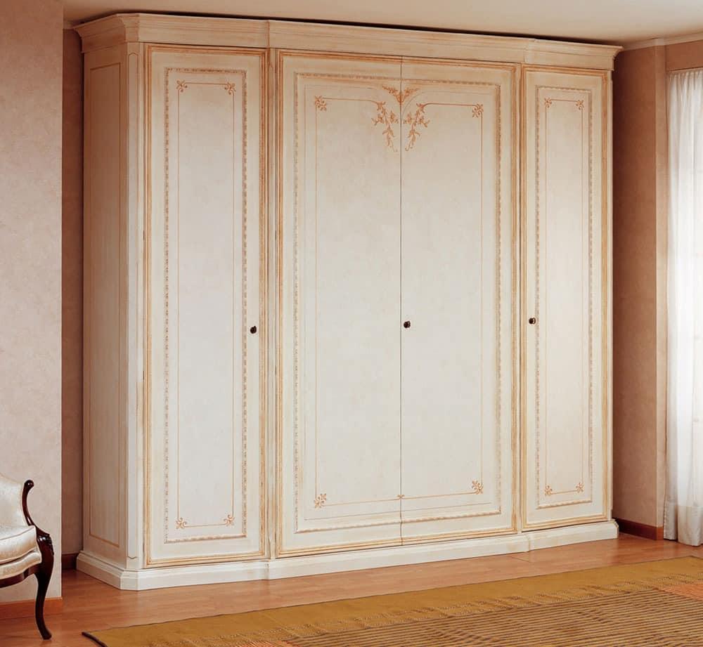 Kleiderschrank Klassiker, Luxus, lackiert Elfenbein Nadelstreifen ...