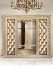 Camelia C/647, Kleiderschrank 4 Türen gepolsterte gesteppte und Spiegel in der Mitte
