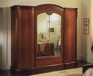 Canova Schrank 4 Türen mit Spiegeln, Kleiderschrank mit 4 Türen, Innen Kommode und Spiegel