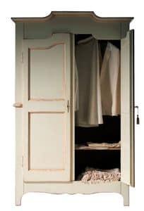 Geneviève BR.0751, Lack-Kleiderschrank mit 2 Türen, mit einem internen Regal, geeignet für Schlafzimmer im klassischen Stil