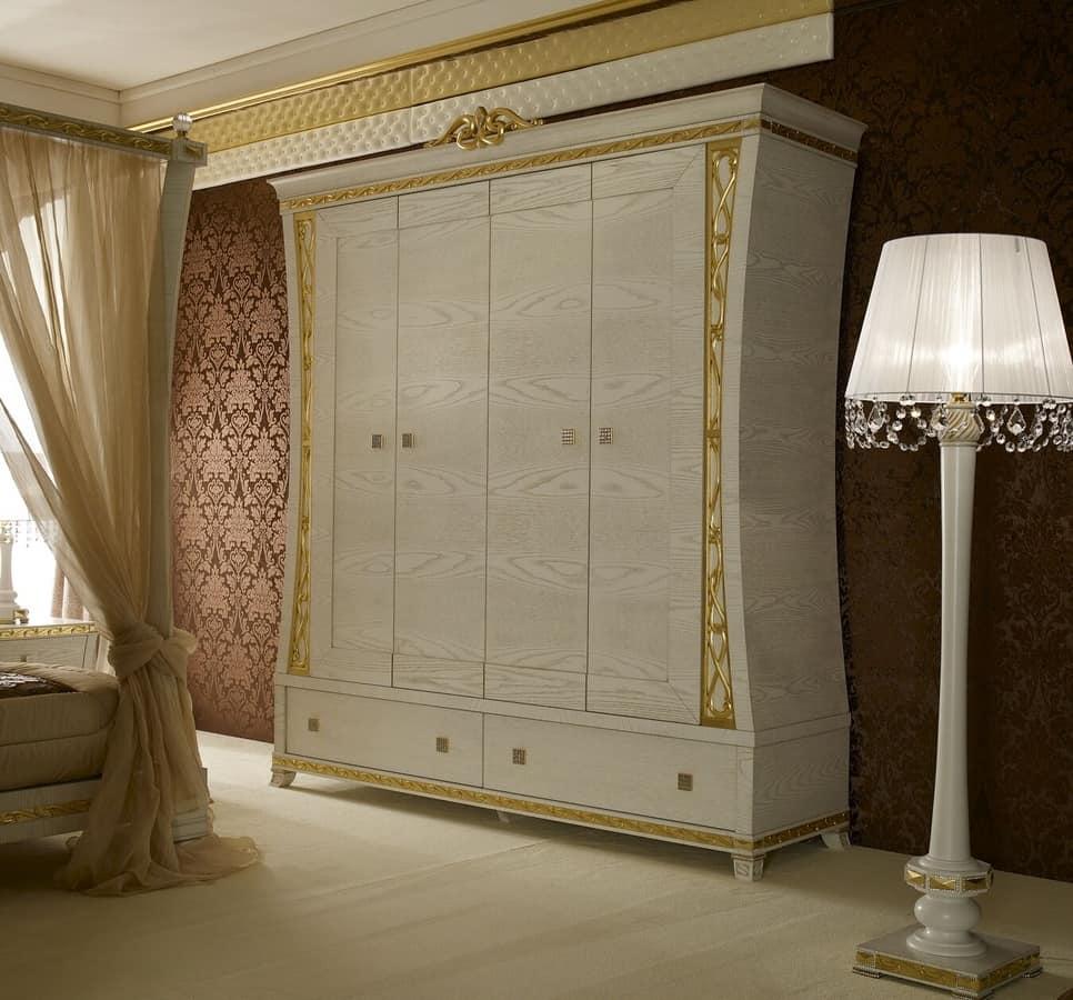 Kleiderschrank mit 4 Türen, mit Griffen aus Edelsteinen | IDFdesign
