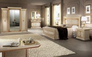 Leonardo Kleiderschrank, Geräumige und funktionale Garderobe, 4 Türen mit goldenen Rahmen