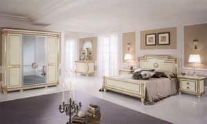 Liberty Kleiderschrank mit 4 Türen, Kleiderschrank mit klassischen Stil, Spiegel zentrale Türen, handgemachte Goldblattschmuck
