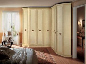 Olimpo Angular, Eckschrank in Holz, 8 Türen, geeignet für klassischen Stil Schlafzimmer