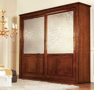 Olympia Schrank 2 Türen mit Siebdruck, Klassischer Kleiderschrank mit Spiegel Satin Siebdruck