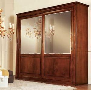 Olympia Schrank 2 Türen, Kleiderschrank mit Spiegeltüren, Diamant Rücken