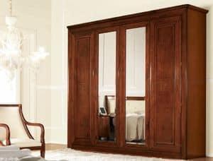 Olympia Schrank 4 Türen mit Spiegel, Klassischer Kleiderschrank mit Spiegeln, mit internen Schubladen