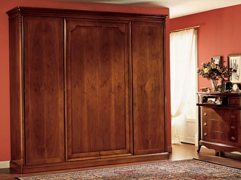 Kleiderschrank mit 4 Türen, in getäfelten Holz | IDFdesign
