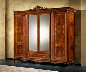 P 708, Klassischer Kleiderschrank mit 2 Spiegel, 4 Türen und 1 Schublade