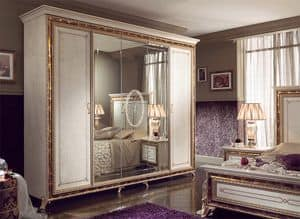 Raffaello Kleiderschrank mit 5 Türen, Luxury klassischen Kleiderschrank, perlweiß lackiert mit goldenen Verzierungen