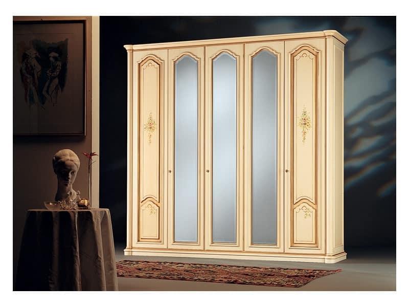 Rialto, Antiken Stil Kleiderschrank, 3 Spiegeltüren, 2 Holztüren von Hand verziert