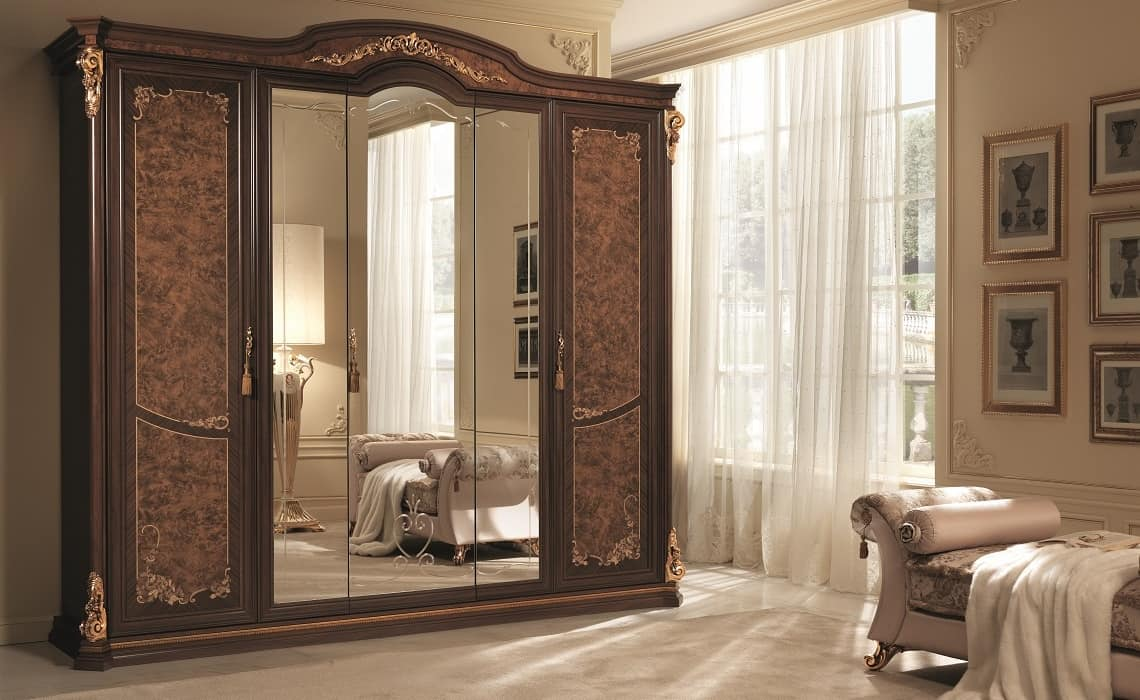 Schrank mit 5 Türen, mit Spiegel und Fries in Blattgold | IDFdesign