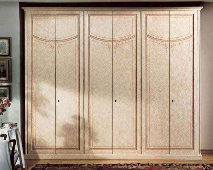 luxus kleiderschrank aus lackiertem holz mit 6 t ren. Black Bedroom Furniture Sets. Home Design Ideas