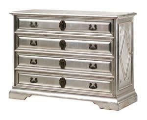 Angelico RA.0754, Ebonized Holzkommode mit 4 Schubladen, in der silbernen Farbe, für Umgebungen in klassischen Luxus-Stil