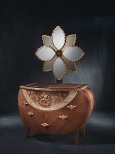 CO18 Vanity, Kommode mit Spiegel, Walnuss, Blattgoldschmuck und Kupfer