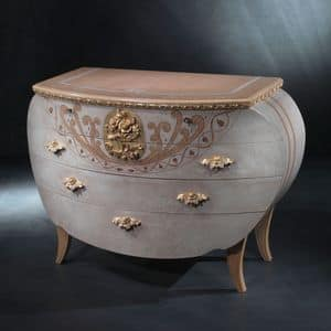 CO17 Vanity, Klassische Kommode, Holz, Blattgold Verzierungen