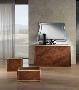 Modular Schrank, lackierte Türen, Spiegel mit Dekorationen | IDFdesign