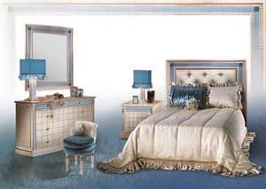 Dahalia C/424/C/2, Klassische Kommode mit Spiegel, Luxus-Schlafzimmer fueniture