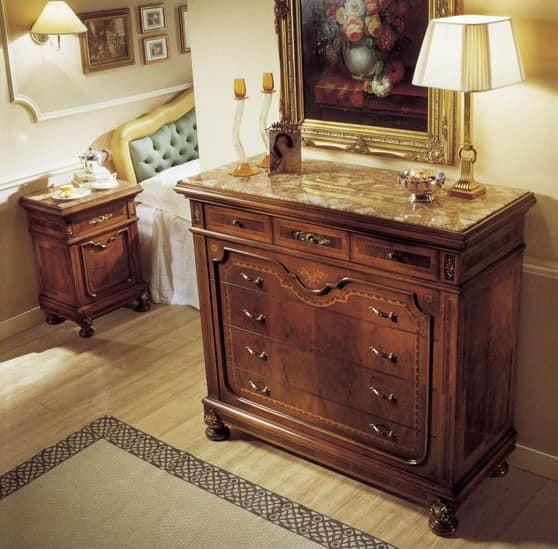 Klassische kommode mit schubladen marmorplatte idfdesign for Holztisch mit marmorplatte