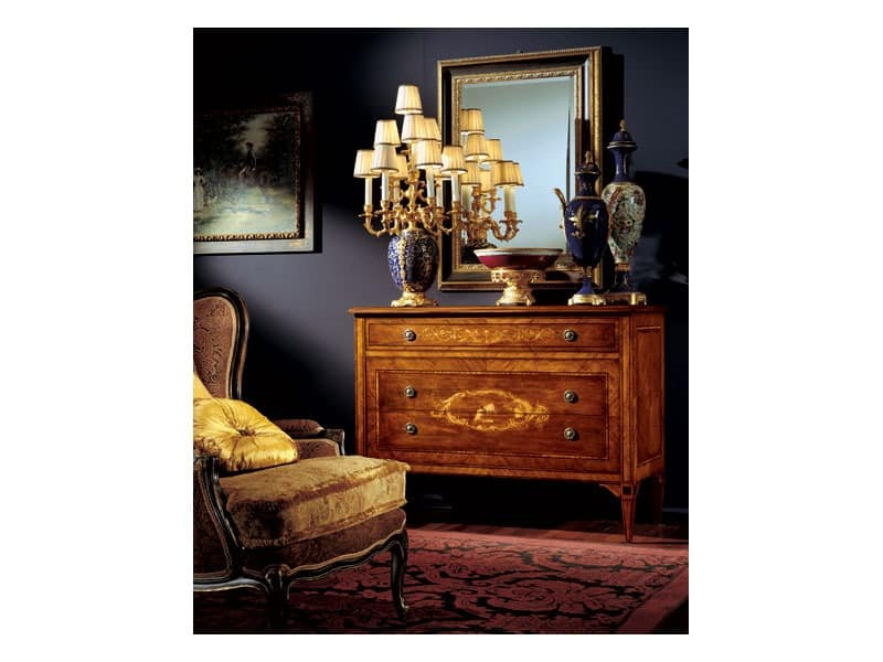 Maggiolini chest of drawers 824, Kommode aus Holz mit drei Schubladen