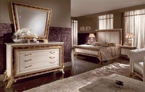 Raffaello Kommode, Kommode mit drei Schubladen, Dekorationen von Hand gefertigt, geeignet für klassische Stil