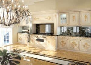 KT201, Klassischer Luxus weiß lackiert Küche mit goldenen Verzierungen