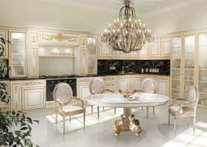 KT262, Küche in Weiß und Gold bemalt, Marmor schwarz Tops