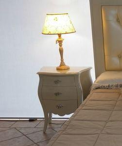 3520 Nachttisch, Klassischer Nachttisch, glanzlackiert
