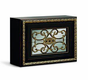 4076, Eleganter schwarz lackierter Nachttisch